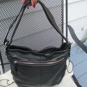 Coach Hobo Black Handbag Pebble Leather Duffle bag